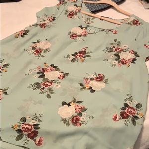 Mint green blouse with flowers